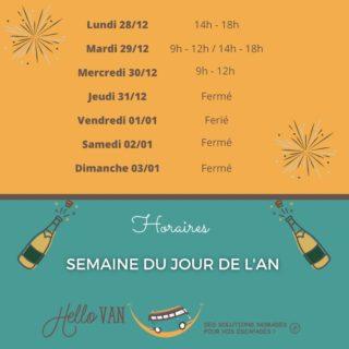 Hello ! ☀ . 📌 Pour information, à une semaine du jour de l'an : Horaires d'ouverture de la semaine 53. . À très bientôt, . Carole-Anne ⛺ . Retrouvez-nous : 117 rue des orchidées, 42155 LENTIGNY 📞 04 28 72 01 05 🛒 Achetez en ligne : www.hello-van.com . . . . #champagne #reveillon #jourdelan #fini2020 #2021